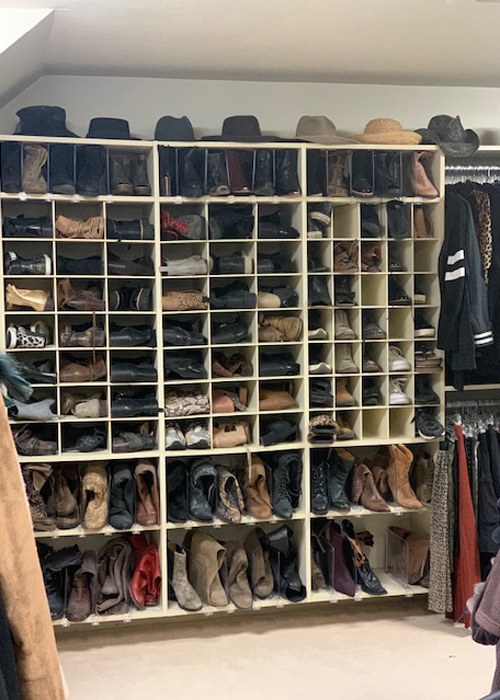 Wall of Shoes & Hats